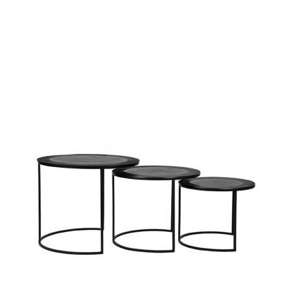 Salontafel Set Tres Zwart Metaal 50x50x45 cm Voorkant
