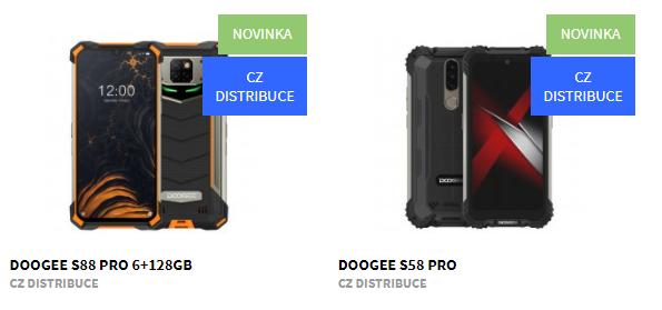 Nové odolné telefony Doogee