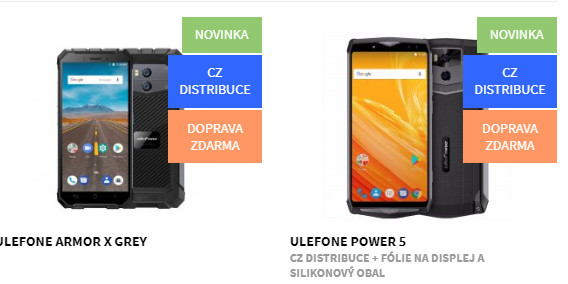Nově v nabídce odolné telefony Ulefone Amor X a Ulefone Power 5