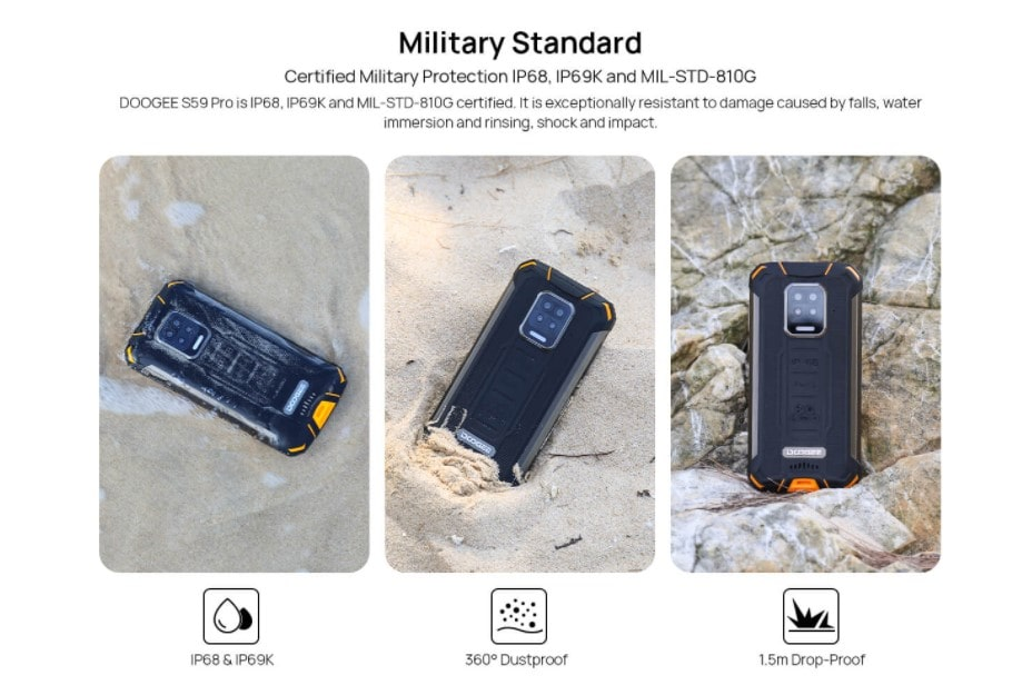 Doogee S59 Pro odolnost se standardem MIL-STD-810G