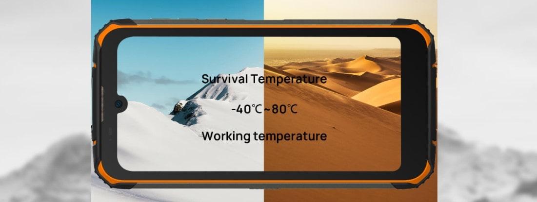 Doogee S59 Pro provoz v extrémních teplotách