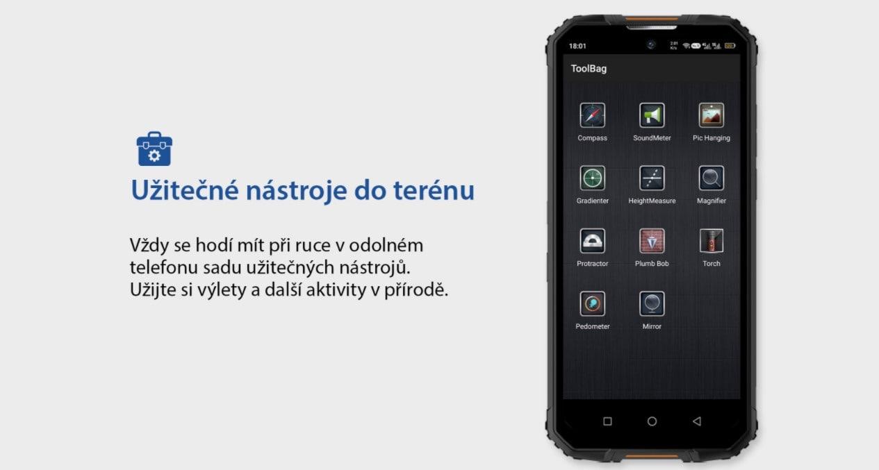 Odolný telefon Oukitel WP10 aplikace