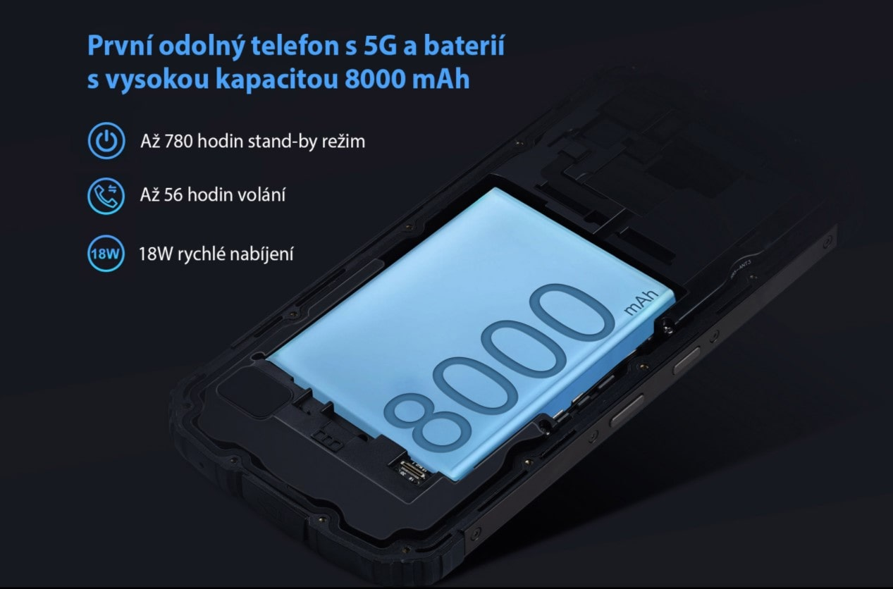 Odolný telefon Oukitel WP10 kapacita baterie