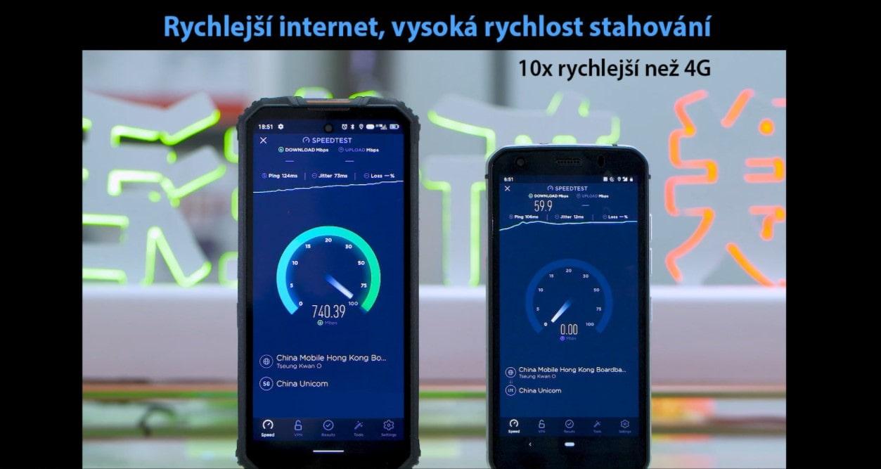 Odolný telefon Oukitel WP10 mobilní internet rychlost