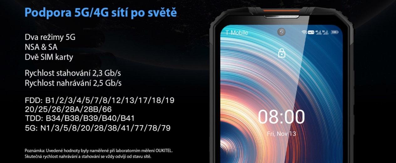 Odolný telefon Oukitel WP10 internet s 5G