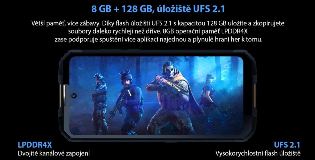 Odolný telefon Oukitel WP10 paměť