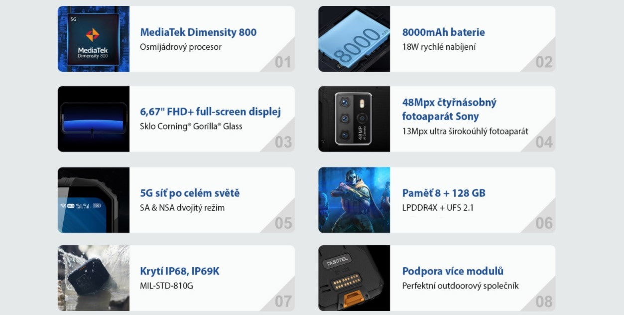 Odolný telefon Oukitel WP10 parametry