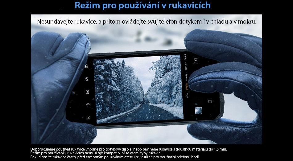 Odolný telefon Oukitel WP10 ovládání v rukavicích