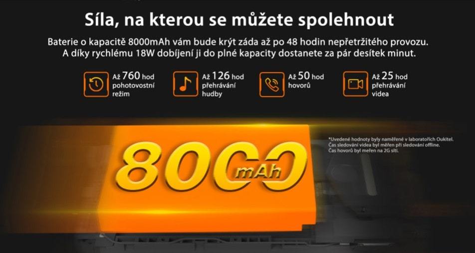 Oukitel WP9 kapacita baterie