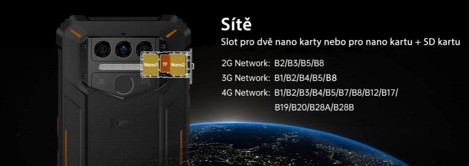 Oukitel WP9 hybridní slot a mobilní sítě