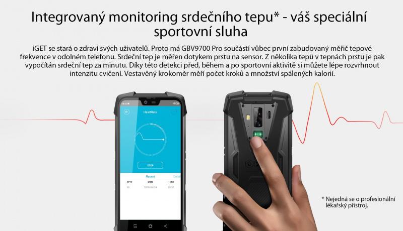 iGET Blackview GBV9700 Pro měření srdečního tepu