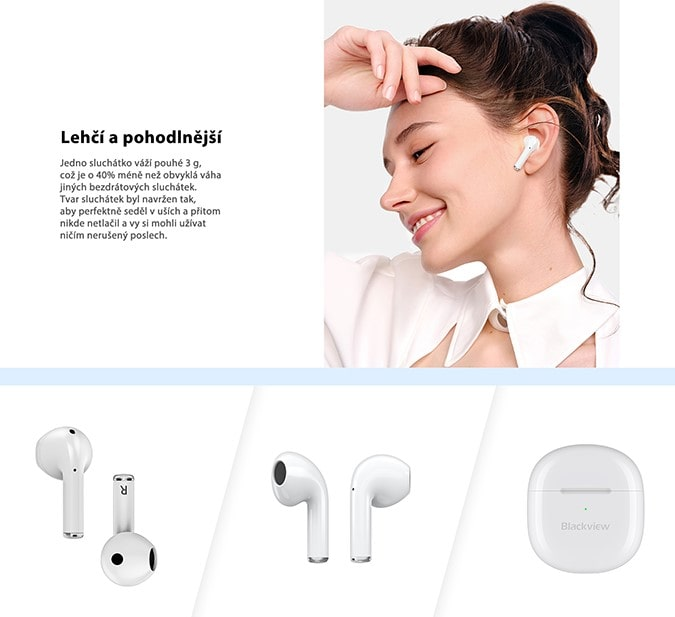 iGET Blackview Airbuds G3 vzhled a váha