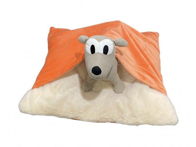 Vankúš pre psov s prikrývkou - oranžová