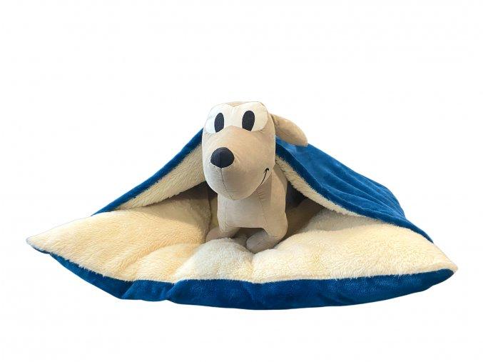 Luxusní pelíšek pro psy s přikrývkou - modrá
