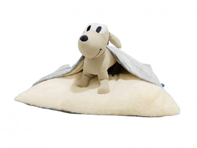 Pelíšek pro psy s přikrývkou - šedá