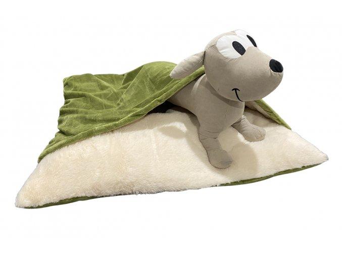 Luxusní pelíšek pro psy s přikrývkou - olivově zelená