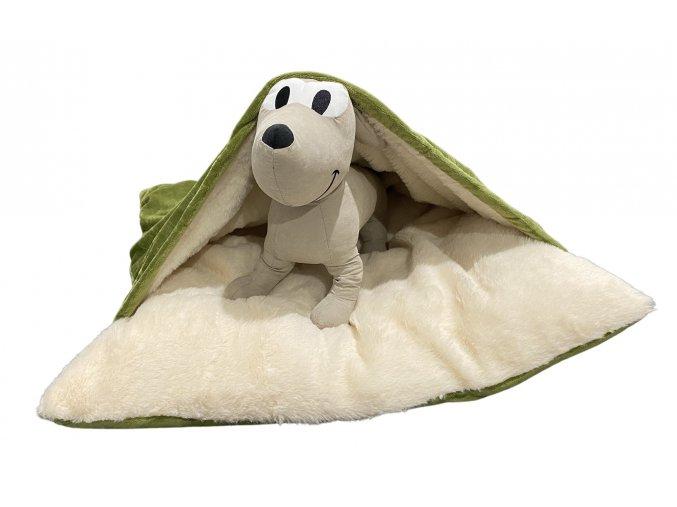 Pelíšek pro psy s přikrývkou - olivově zelená