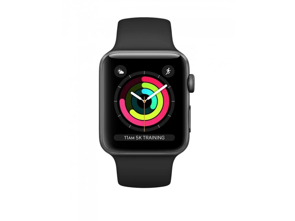 Apple Watch Series 3 42mm Space Gray Aluminium Case with Black Sport Band 2017 3