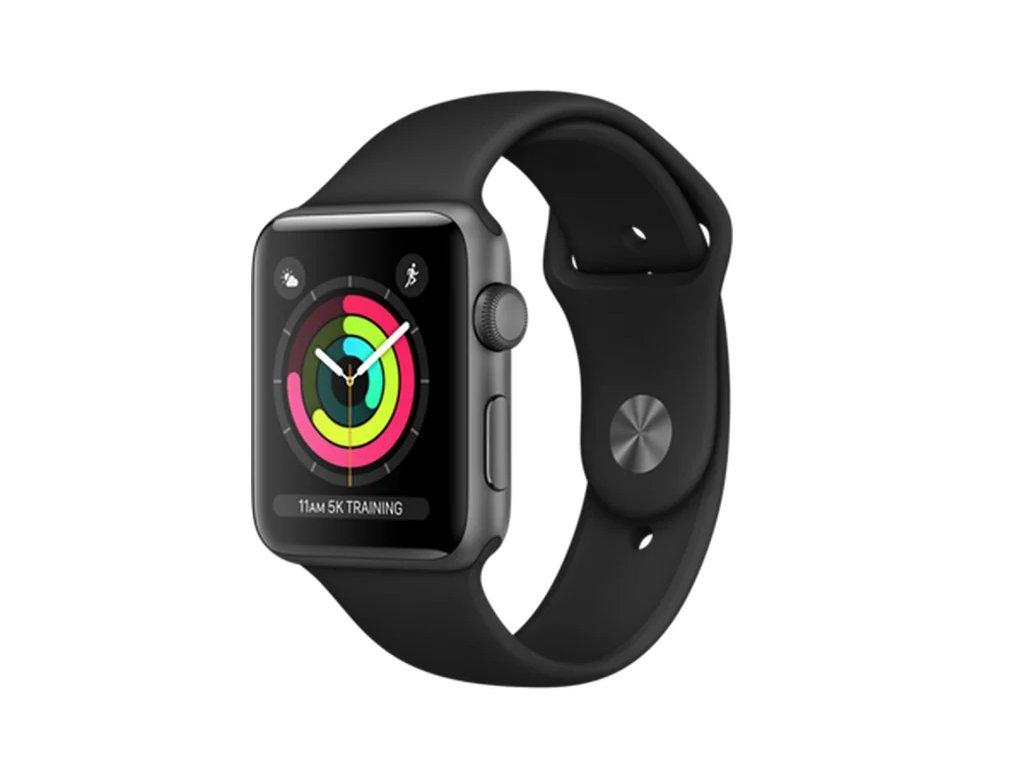"Apple Watch Series 3 42mm Space Gray Aluminium Case with Black Sport Band 2017 ""B GRADE"""