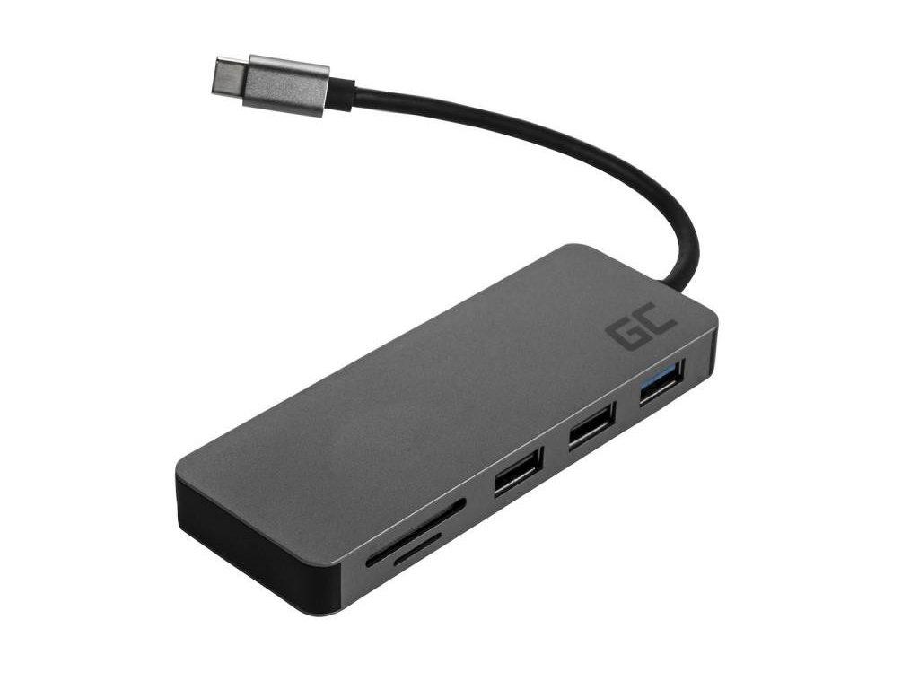 Green Cell USB-C HUB 7in1 | USB 3.0 | 2xUSB 2.0 | HDMI 4K | microSD, SD | DEX