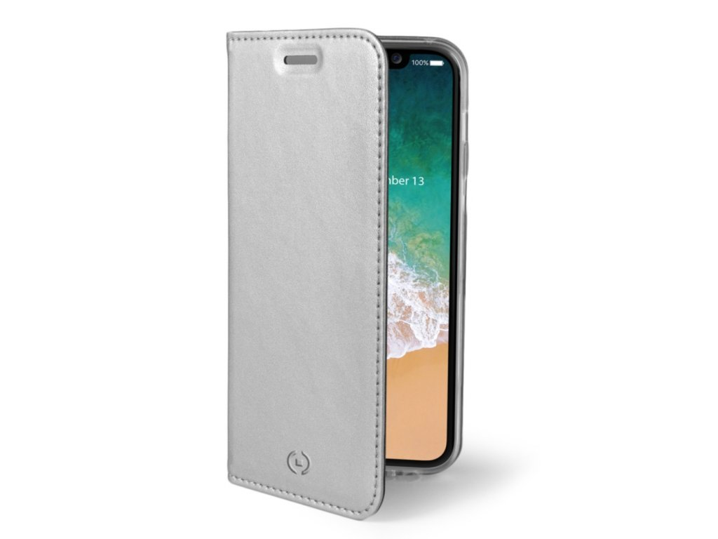 Ultra thin case type CELLY Air for Apple iPhone X/XS, PU leather, silver