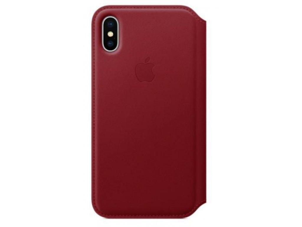 Pouzdro na mobil flipové Apple Leather Folio pro iPhone X/XS - (PRODUCT) Red červené