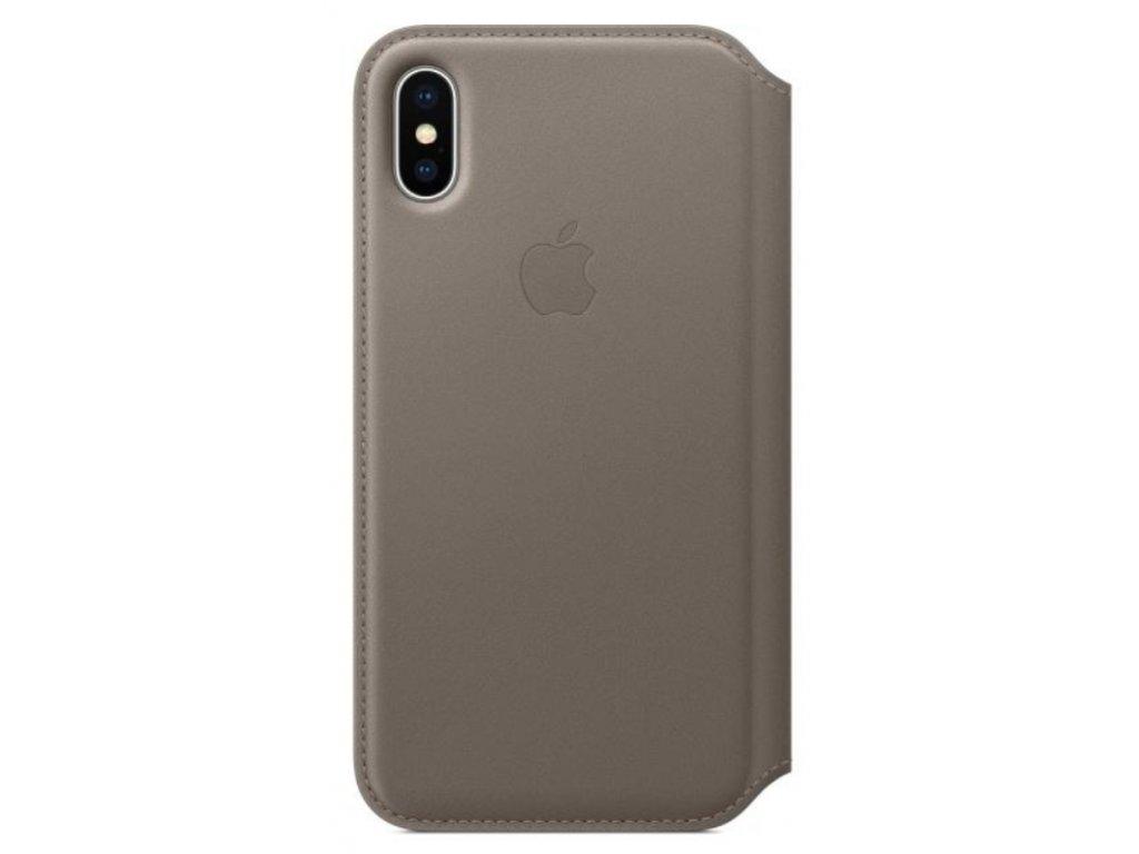 Pouzdro na mobil flipové Apple Leather Folio pro iPhone X/XS - kouřové