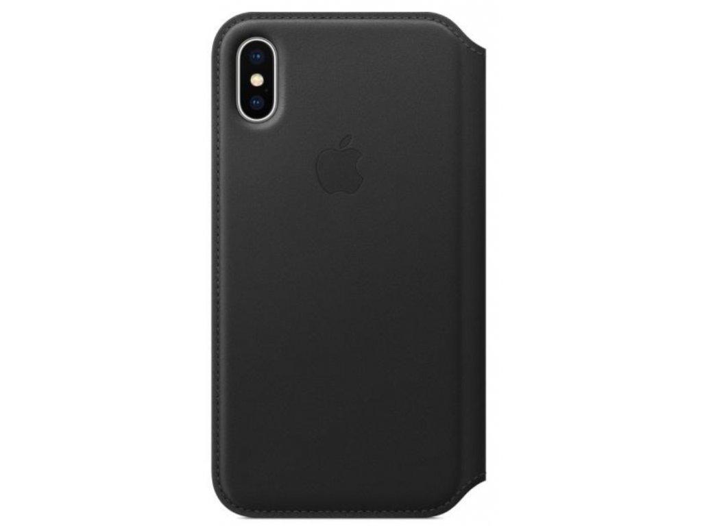 Pouzdro na mobil flipové Apple Leather Folio pro iPhone X/XS černé