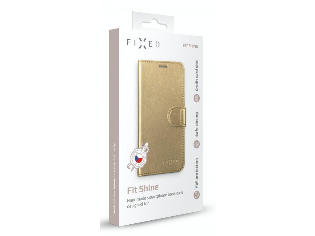 Pouzdro na mobil flipové FIXED FIT Shine na Apple iPhone XR zlaté 4