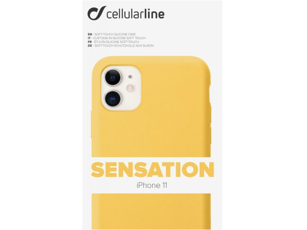 Kryt na mobil CellularLine SENSATION na Apple iPhone 11 žlutý