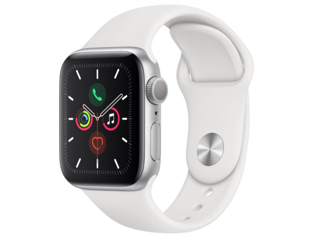 Apple Watch Series 5 GPS, 40mm Silver Aluminium Case with White Sport Band 2