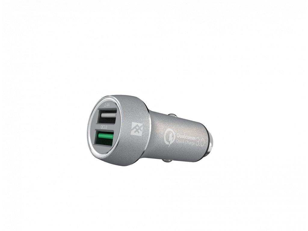 IFROGZ UniqueSync – duální auto USB nabíječka 2,4A / 3,0A Silver