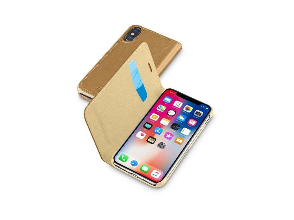 Pouzdro typu kniha CellularLine Book Essential pro Apple iPhone X/XS, hnědé