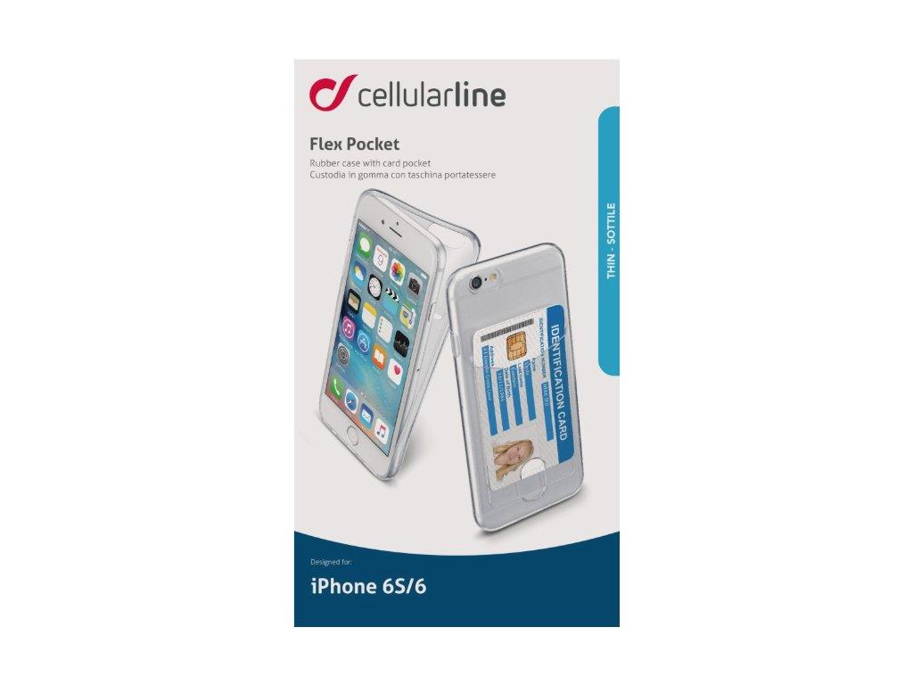 Extratenký zadní kryt se zadní kapsou CellularLine Fine POCKET pro Apple iPhone 6/6s