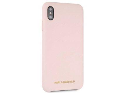 Karl Lagerfeld Gold Logo Silicone Case iPhone XS Max pískově růžový