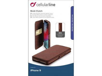 Pouzdro typu kniha CellularLine Book Clutch pro Apple iPhone XR, hnědé