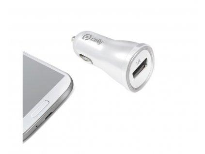CELLY CL autonabíječka s USB výstupem, 1A, bílá