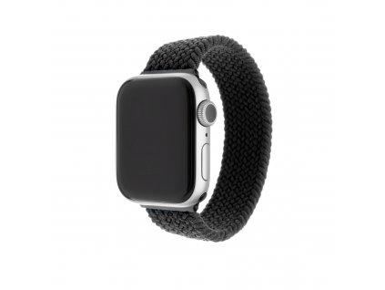 Elastický nylonový řemínek FIXED Nylon Strap pro Apple Watch 42/44mm, velikost L, černý