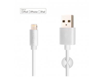 Datový a nabíjecí kabel FIXED s konektory USB/Lightning, 1 metr, MFI certifikace, 20W, bílý