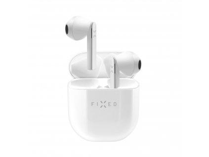 bezdrátová TWS sluchátka FIXED Boom Pods, bílá