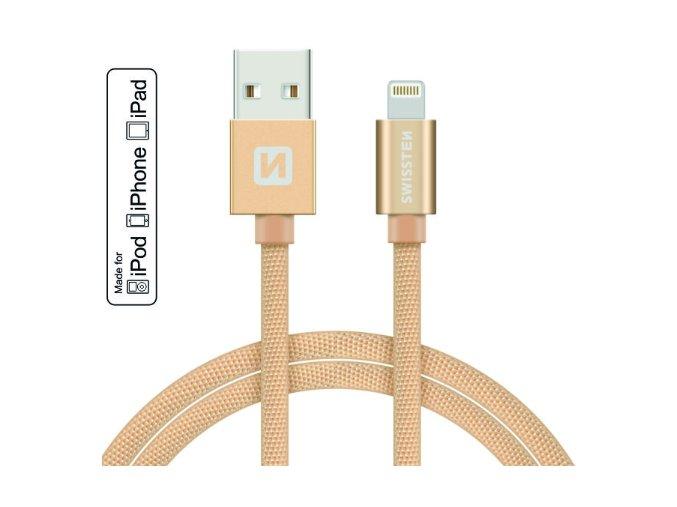 MFI licencovaný datový lightning kabel Swissten textile zlatý 1.2m / 2.0m