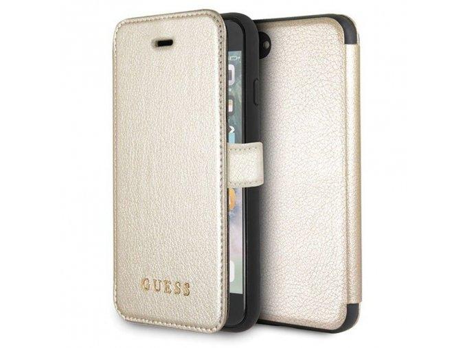 Originální pouzdro Guess leather iridescent gold pro Apple iPhone X/XS