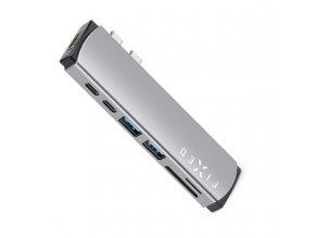7-portový hliníkový USB-C FIXED HUB Mac pro MacBooky šedý