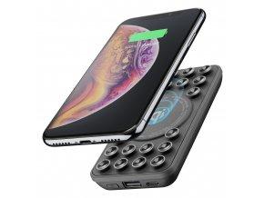 Powerbanka Cellularline Octopus Wireless Powerbank s bezdrátovým nabíjením a přísavkami, 5000 mAh, černá