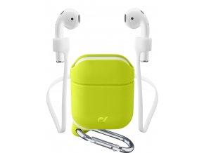 Ochranný kryt s karabinou Cellularline Sprint pro Apple AirPods 1&2 s držákem sluchátek, zelený