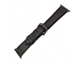 Kožený řemínek FIXED Berkeley pro Apple Watch 42 mm a 44 mm s černou sponou, velikost L, černý