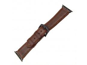 Kožený řemínek FIXED Berkeley pro Apple Watch 42 mm a 44 mm s černou sponou, velikost L, hnědý