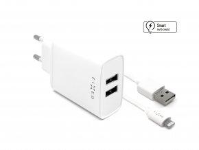 Set síťové nabíječky FIXED s 2xUSB výstupem a USB/Lightning kabelu, 1m, MFI certifikace, 15W Smart Rapid Charge, bílá