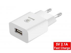 Baseus fast charger síťový adaptér 5V/2A bílý