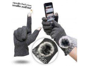 Big Pompon dámske dotykové rukavice šedé